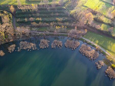 Lake Annone landscape in autumn Imagens