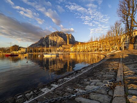 Sunset on the lakeside of Lecco Stock Photo