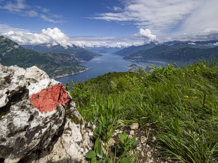 Landscape of Lake coo from an alpine trail Stock Photo