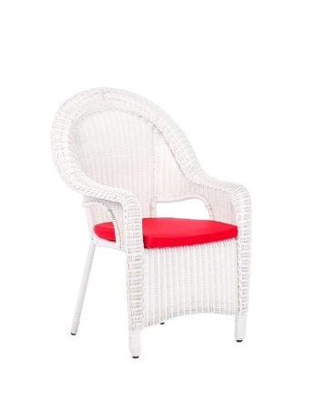 cane chair: White wicker rattan chair, isolated on a white background.