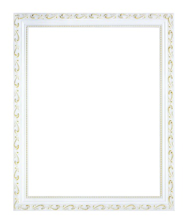 vintage photo frame: White gilded, empty wooden photo frame in vintage style. Old rectangular, square frame.