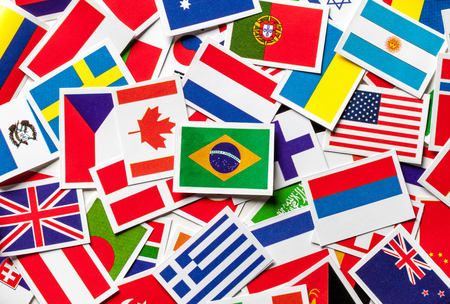 flags of the world: National flags of the different countries of the world Brazilian flag in the center.