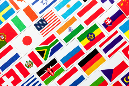 multiple ethnicities: Background of different colorful national flags of the world. Diagonal collage Stock Photo
