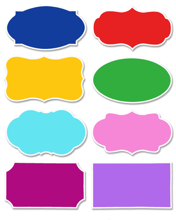 Various colors set of tag and speech bubble with different shape with white border isolated on white background. Collection of multicolored label with copy space. Reklamní fotografie