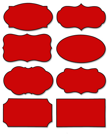 Set of dark red tag and speech bubble with different shape isolated on white background. Collection of label with black border and copy space.