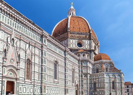 Exterior of cathedral Santa Maria del Fiore in Florence, Italy. Tuscany renaissance architecture, Europe.