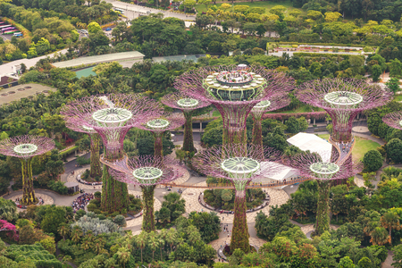 Singapore - 07 July 2018: Aerial view of the botanical garden, Gardens by the Bay in Singapore. Supertrees Marina Bay. Editorial