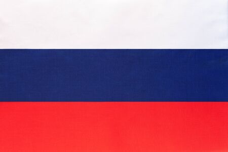 Russia national fabric flag textile background. Symbol of international world european country. State official russian sign. Stockfoto