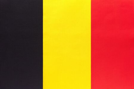 Kingdom Belgium national fabric flag, textile background. Symbol of international world country. European state official Belgian sign.