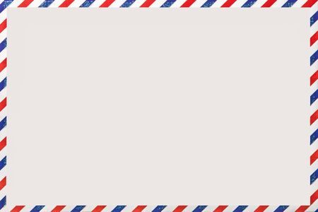 Old post striped envelope, background with copy space. White mail letter with stripped vintage pattern. Empty blank.