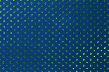Navy blue background from metal foil paper with a pattern of sparkling golden green stars, closeup. Texture of denim metallized wrapping holiday paper surface. Stok Fotoğraf
