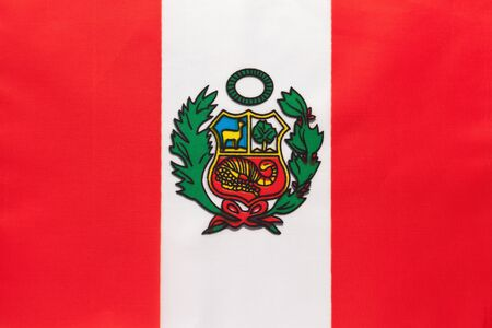Peru national fabric flag, textile background. Symbol of international world south America country. State official peruvian sign. Stok Fotoğraf