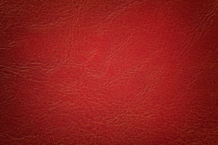 Dark red leather texture background, closeup. Brick cracked backdrop from wrinkle skin, structure of textile with vignette.