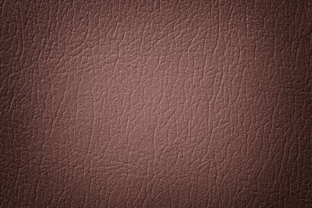 Dark brown leather texture background, closeup. Umber cracked backdrop from wrinkle skin, structure of textile with vignette.