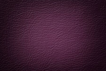 Dark purple leather texture background, closeup. Violet cracked backdrop from wrinkle skin, structure of textile with vignette.