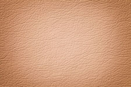 Dark beige leather texture background, closeup. Coral cracked backdrop from wrinkle skin, structure of light brown textile with vignette.