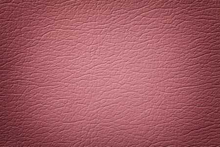 Dark pink leather texture background, closeup. Pink cracked backdrop from wrinkle skin, structure of textile with vignette. Фото со стока