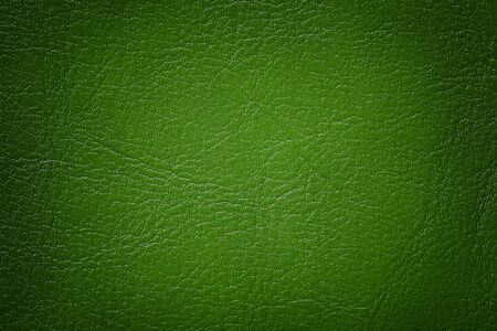 Dark green leather texture background, closeup. Emerald cracked backdrop from wrinkle skin, structure of textile with vignette.