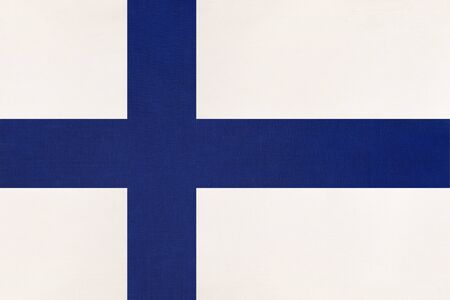 Finland national fabric flag, textile background. Symbol of international european scandinavian world country. Finnish state official sign, Imagens