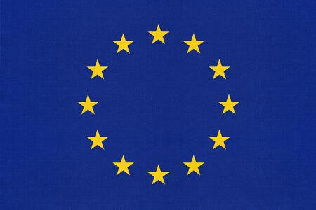 European union official textile blue flag with star. International community symbol of EU background.