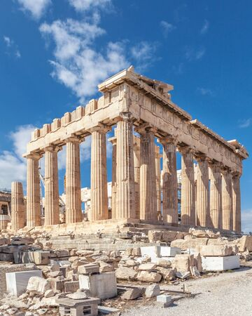 Ruins of the Temple Parthenon at the Acropolis. Beautiful view of the famous temple in Athens, Greece.