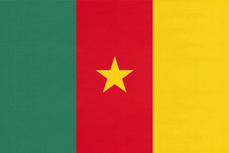Republic of Cameroon national fabric flag, textile background. Symbol of international world african country. State official cameroonian sign.