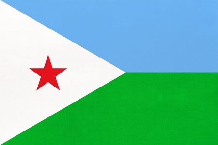 Republic Djibouti national fabric flag textile background. Symbol of international world african country. State official djiboutian sign.