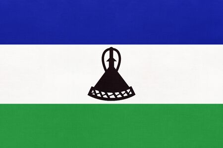 Kingdom Lesotho national fabric flag textile background. Symbol of international world african country. State official africa sign.