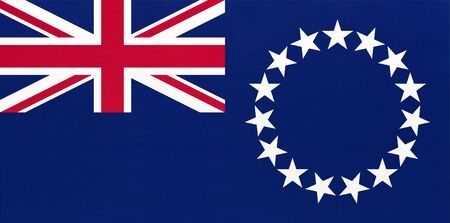 Cook Islands national fabric flag, textile background. Symbol of international world oceania country. State New Zeland official sign.