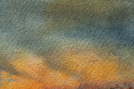 Abstract art background dark orange and green colors. Watercolor painting on canvas with olive gradient. Fragment of artwork on paper with pattern. Texture backdrop, macro. Banco de Imagens