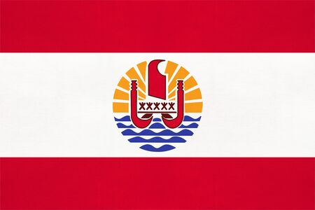 French Polynesia national fabric flag, textile background. Symbol of international world oceania country. State official sign.
