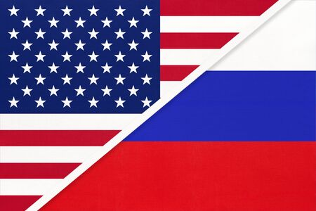 USA vs Russia national flag from textile. Relationship, partnership and economic between two american and european countries.