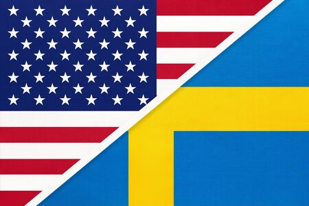USA vs Sweden national flag from textile. Relationship, partnership and economic between two american and european countries.
