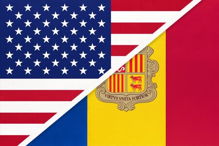 USA vs principality of Andorra national flag from textile. Relationship, partnership and economic between two american and european countries.