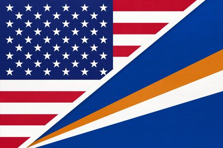 USA vs Marshall Islands national flag from textile. Relationship, partnership and economic between two american and Oceania countries.
