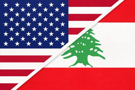 USA vs Lebanon national flag from textile. Relationship, partnership and economic between two american and asian countries.
