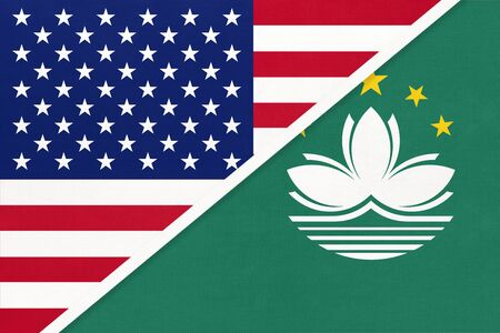 USA vs Macao national flag from textile. Relationship, partnership and economic between two american and asian countries. Stock Photo