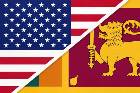 USA vs Republic of Sri Lanka national flag from textile. Relationship, partnership and economic between two american and asian countries.