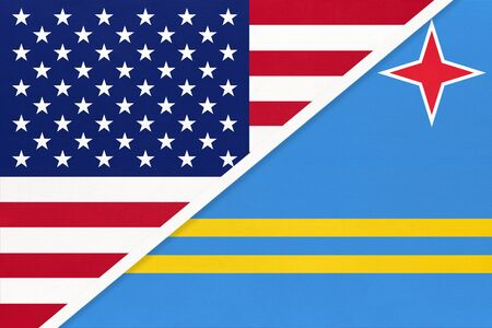 USA vs Aruba national flag from textile. Relationship, partnership and economic between two american and caribbean countries.