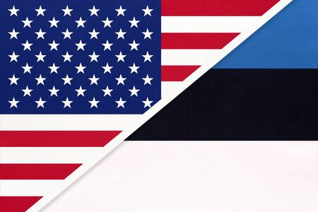 USA vs Estonia national flag from textile. Relationship, partnership and economic between two american and european countries.