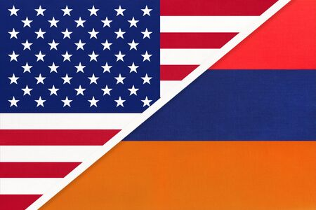 USA vs Armenia national flag from textile. Relationship, partnership and economic between two american and european countries. Imagens
