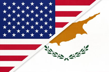 USA vs Cyprus national flag from textile. Relationship, partnership and economic between two american and european countries.