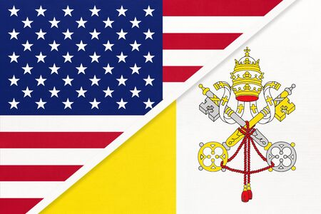 USA vs Vatican national flag from textile. Relationship, partnership and economic between two american and european countries.