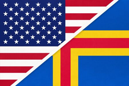 USA vs Aland Islands national flag from textile. Relationship, partnership and economic between two american and european countries.