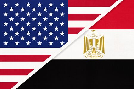 USA vs Arab Republic of Egypt national flag from textile. Relationship, partnership and economic between two american and african countries. Imagens