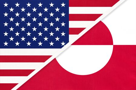 USA vs Greenland national flag from textile. Relationship, partnership and economic between two american and european countries.