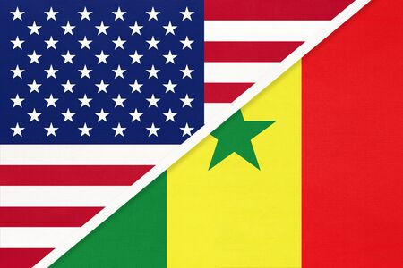 USA vs Republic of Senegal national flag from textile. Relationship, partnership and economic between two american and african countries.