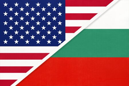 USA vs Bulgaria national flag from textile. Relationship, partnership and economic between two american and european countries. Imagens