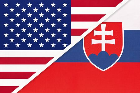 USA vs Slovakia national flag from textile. Relationship, partnership and economic between two american and european countries.