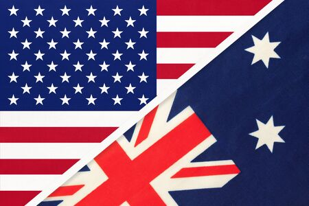 USA vs Australia national flag from textile. Relationship, partnership and economic between two american and Oceania countries.